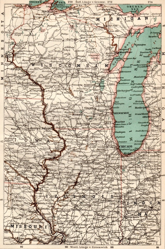 1898 Wisconsin Illinois Antique Map Vintage Lithograph