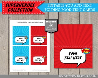 INSTANT DOWNLOAD Editable Superhero Folding Food Tent / Place Cards / Add Your Own Text / Printable / Superheroes Collection / Item #504
