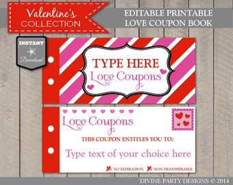 SALE INSTANT DOWNLOAD Editable Printable Love Coupon Book / Type Your Own Text / Personalized / Valentine's Collection