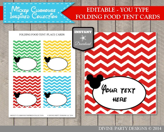Il_570xn  sc 1 st  Catch My Party & INSTANT DOWNLOAD Mouse Clubhouse Editable Printable Chevron Food ...