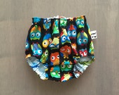 LAST PAIR - Owls in Black Reversible Flying Machines Baby Boy Bloomer Diaper Cover 0-3 Month