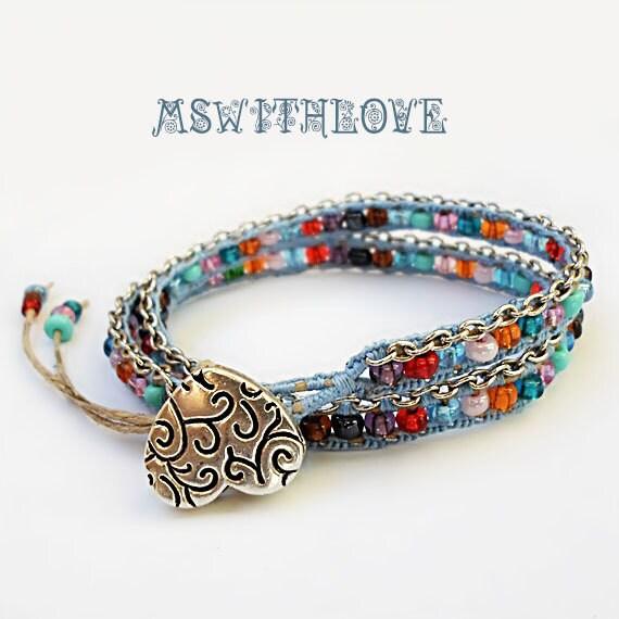 silver chain bracelet colorful wrap bracelet silver