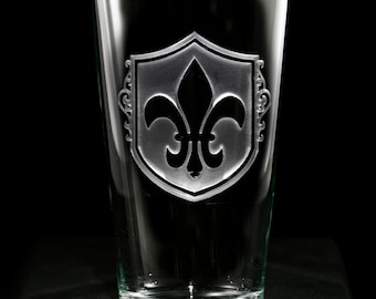 Fleur De Lis Pint Pub Glass Set, French, Paris Theme Decor (SET OF 4)