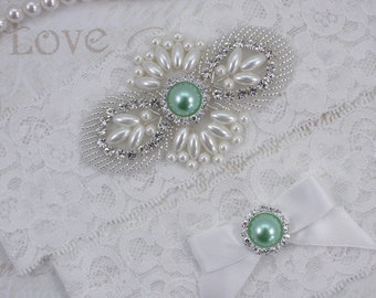 MAGGIE - Mint Green Wedding Rhinestone Garter Set, Wedding Stretch Lace Garter, Pearl Crystal Bridal Garters