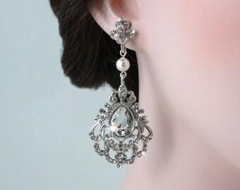 BERTHA - Victorian Inspired Wedding Earrings, Bridal Earrings, Crystal Earrings, Bridal Jewelry, Swarovski Pearl, Dangle Earrings