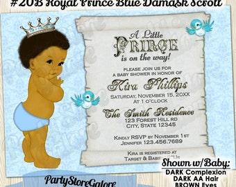 vintage royal prince baby boy shower invitations african american boys blue damask scroll custom