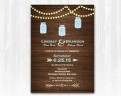 Mason Jar Engagement Invitation DIY PRINTABLE Digital File or Print (extra) Wood Engagement Invitation String Lights Engagement Invitation