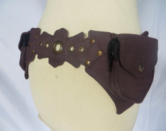 Festival Utility belt Steampunk psytrance style in cotton - Star Model Choco