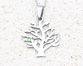 Birthstone Family Tree Necklace - Bridesmaid, New Mom, Sister, Graduation, Teacher, Grandmother, Mother, Mother's day