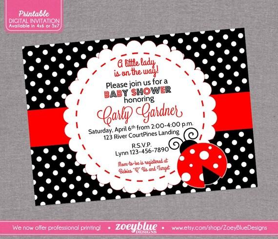Ladybug Baby Shower Invitation Lady Bug By ZoeyBlueDesigns