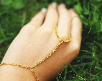 Hand chain, Gold Hand Harness Ring Bracelet