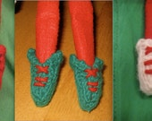Christmas Elf handknitted booties/ boots/ shoes for Elf doll - Green, red and white