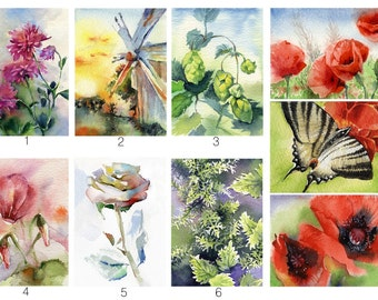 Poppy flower painting, watercolor butterfly, windmill, print, archival watercolor paper