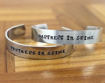 Partners in Crime Bracelet Set / Best Friend Gift / Hand Stamped Bracelet / Best Friend Birthday Gift / Sister Gift / Sister Jewelry