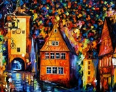 "Germany, Medieval Rothenburg — PALETTE KNIFE Cityscape Modern Oil Painting On Canvas By Leonid Afremov - Size: 40"" x 30"" (100 cm x 75 cm)"