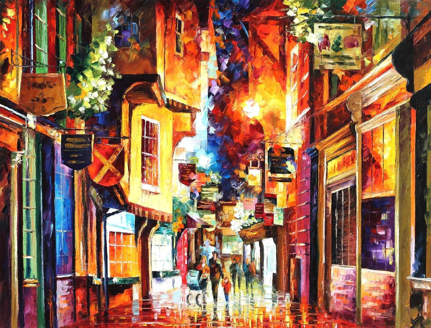 in the streets of london palette knife england wall art oil