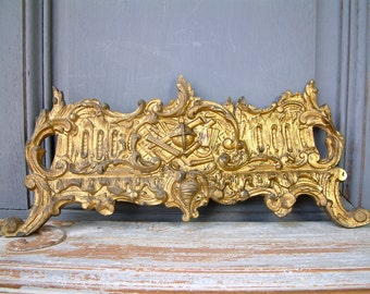 Antique French large gilded bronze mantle clock pediment. Antique bronze hardware. Louis XVI style. furniture pediments. Salvage hardware.