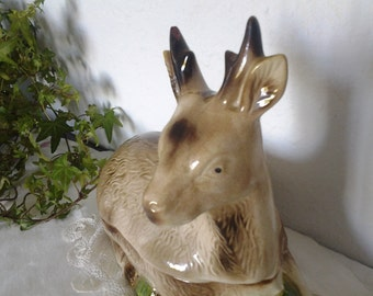 French Vintage Deer Tureen...Majolica... Faience...Hunting decor...Hand painted...Christmas gift..French home decor...Brocante...