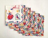 Cheery Vintage Napkins Multicolor Crochet Edge Set of 5 Picnic Size Serviettes
