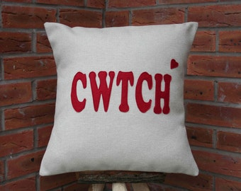 Cwtch Cushion/Handmade in Wales/Welsh appliqued Cwtch Cushion/ Cuddle Cushion/Pillow/ Welsh Gift