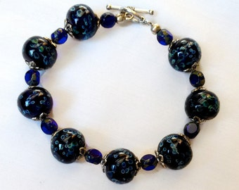 Midnight Blue Lampwork Glass Bracelet, StrandzJewelry