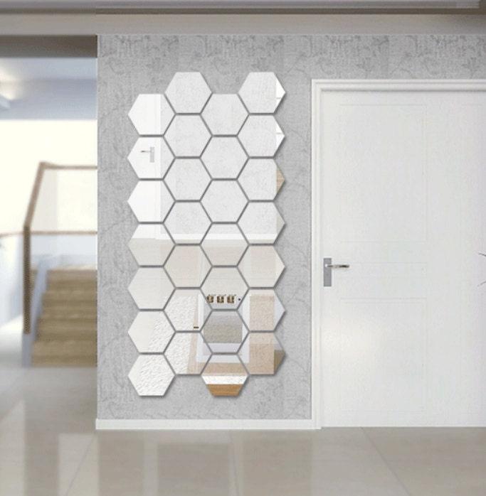 Hexagon shape mirror wall decal wall sticker for Miroir mural collant