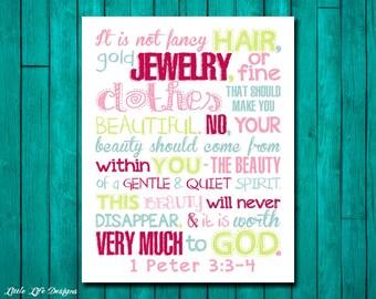 It is not fancy hair...1 Peter 3:3-4. Christian Decor. Little Girls Wall Art. Girl Wall Decor. Girls Room Decor. Bible Verse. Scripture.