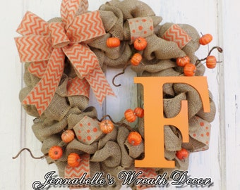 Burlap Wreath, Fall Wreath, Autumn Decor, Orange Chevron Bow, Pumpkins, Monogram Letter, Orange