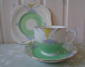 c1935 Art Deco Grafton Hand Painted China Trios - English China -  1930s Grafton China Tea Ware