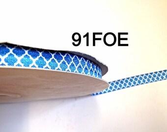 "2/3/5 yard - 5/8"" White Quatrefoil Blue Fold Over Elastic Headband Hair Accessories"