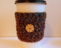 Coffee Cup Sleeve Cozy Take Out Cup Cozy Brown Coffee Cup Sleeve Hand Crocheted Coffee Cup Sleeve Eco Friendly Coffee Cup Sleeve