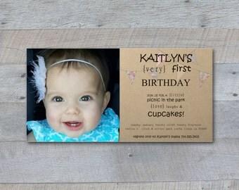 Vintage Inspired Picnic Bunting Photo Birthday Invitation Printable