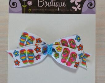 Boutique Style Hair Bow - Flip Flops