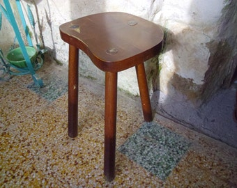 Vintage milking stool Rustic French hand made 3 leg farm stool