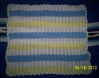 Boy or Girl Yellow Blue White Baby Afghan