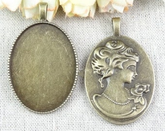15pcs antique bronze Embossed characters oval  Cabochon Setting  Charm Pendants 40x30mm
