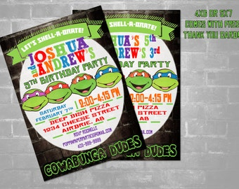 TMNT, Ninja Turtle Invitation, Twins Ninja Turtles Invitation, Double Ninja Turtles Invitation, Ninja Turtles Birthday Party, Printable