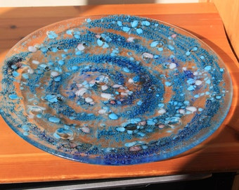 Stunning blue round fruit bowl - 360mm dia
