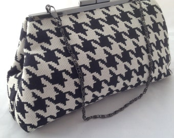 HOUNDSTOOTH clutch BLACK and WHITE purse. with bright yellow satin interior with chain (handbags and purses)