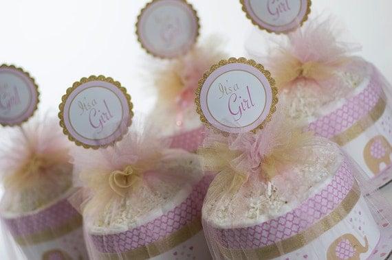 "Five ""Little Elephant"" Pink/Gold Mini Diaper Cakes. Baby Shower Centerpieces."