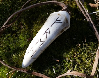 Rune Pendant Antler Necklace