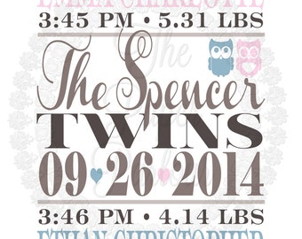 Twins Birth Announcement - Nursery Art - Perfect gift for the dynamic duo in your life