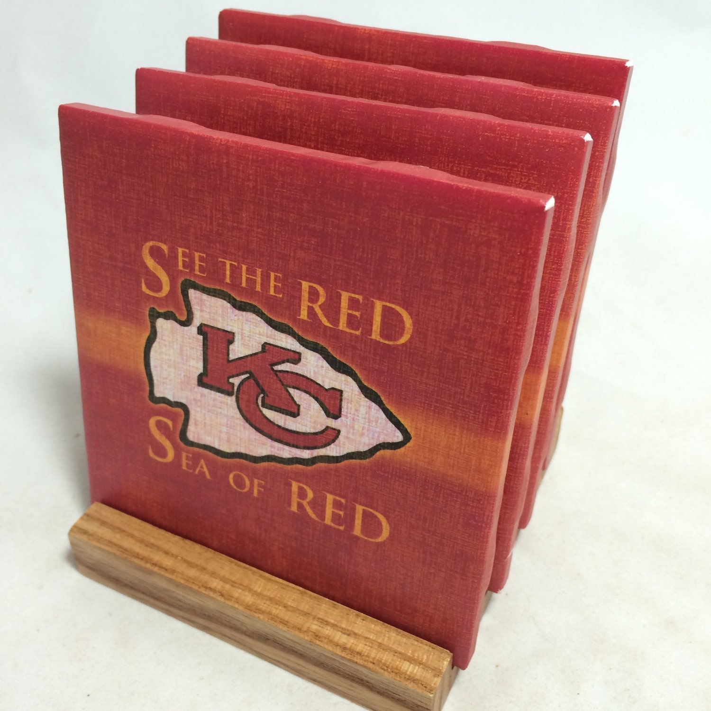 Handmade Kansas City Chiefs Drink Coasters Set By