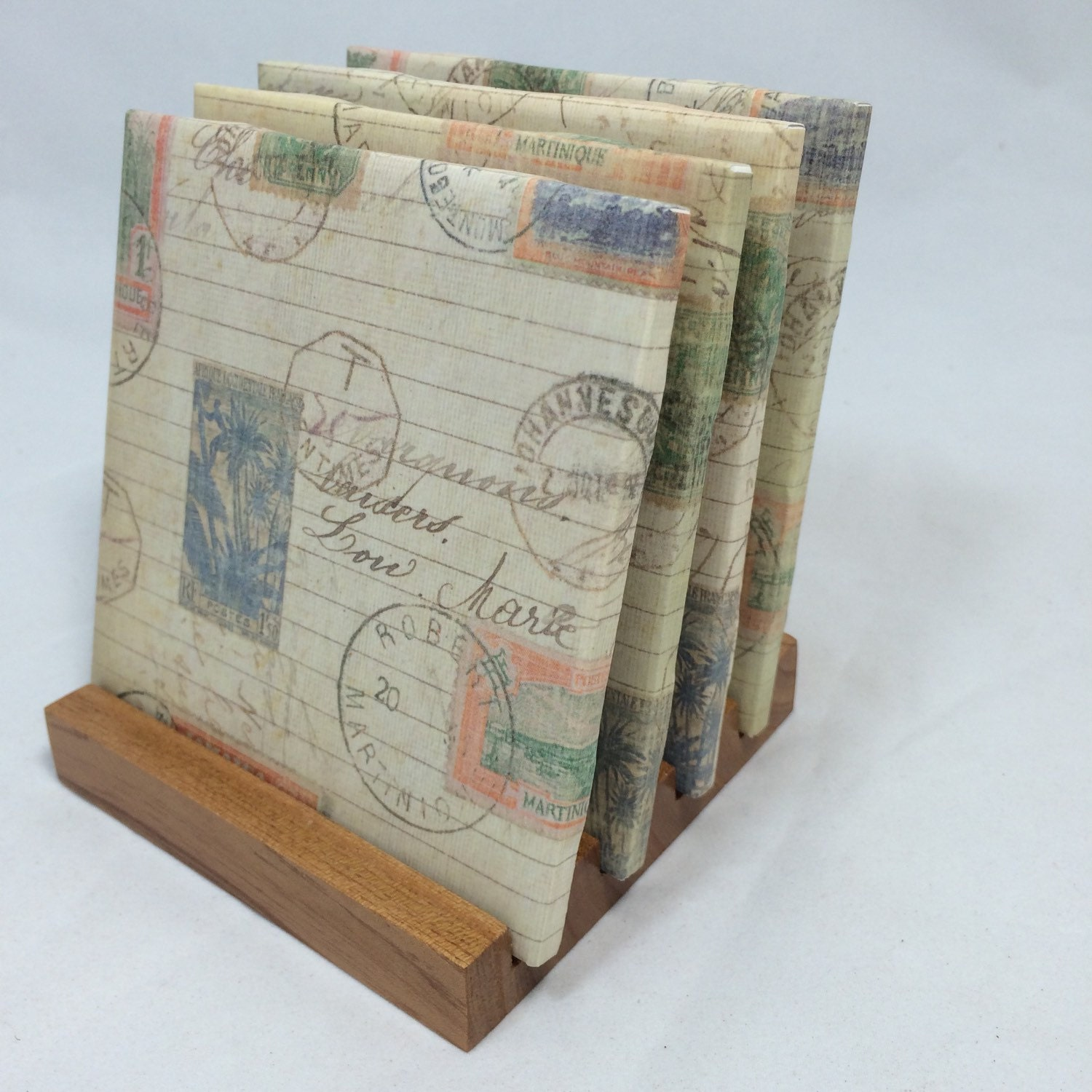 Handmade coastal stamps drink coasters set of by for Handmade drink coasters