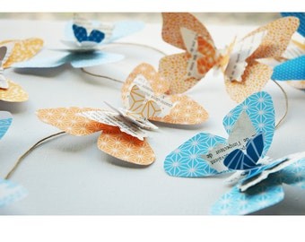 Butterflies, turquoise and Tangerine, decor Butterfly Garland