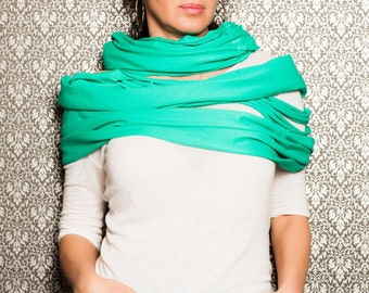 Turquoise Infinity Scarf/Cropped Scarf/Extravagant Shawl