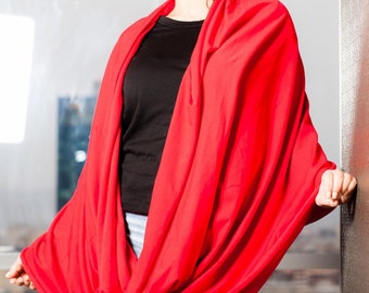 Red  Infinity Scarf/Cropped Scarf/Extravagant Shawl/ Accessory
