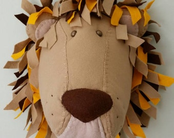 LEOPOLD LION - Faux Taxidermy Felt Wall Mounted Animal Head