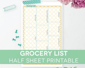 Grocery List Printable With Categories, Shopping Notepad Half Sheet