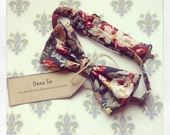 Floral mens bow tie, blue mens bow tie, wedding bow tie, cotton mens bow tie